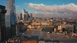 South London Aerial City View around Waterloo, Tower Bridge, Greenwich and Canary Wharf Skyline 4K Ultra HD