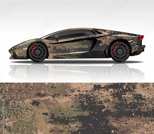 Car wrap decal design vector, for Lamborghini Aventador, advertising or custom livery WRC style, race rally car vehicle sticker and tinting custom Wallpaper Mural