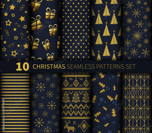 mata magnetyczna Christmas seamless pattern background vector set golden dark blue abstract