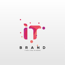 Initial Letter IT Logo With Colorful, Letter Combination Logo Design For Creative Industry, Web, Business And Company. - Vector