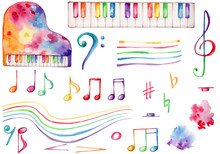 Watercolor Musical Set Rainbow...
