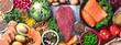 Balanced diet food background.