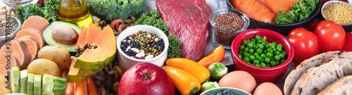 Fototapeta Balanced diet food background. obraz