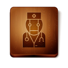 Brown Robot Doctor Icon Isolated On White Background. Medical Online Consultation Robotic Silhouette Artificial Intelligence. Wooden Square Button. Vector Illustration