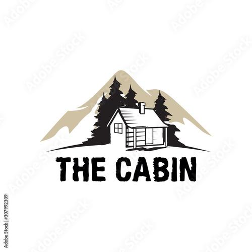 Tableau sur Toile Cabin Wood Logo, Cabin Resort Logo