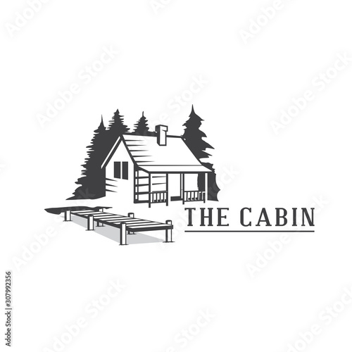 Cabin Wood Logo, Cabin Resort Logo Wallpaper Mural