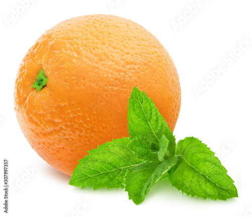 Composition with whole orange and sprig of mint isolated on a white background with clipping path.