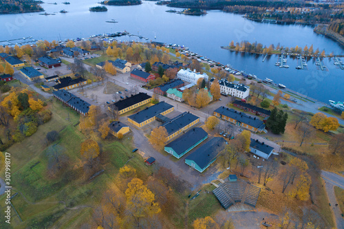 Tablou Canvas Above the ancient fortress of the  Lappeenranta city a October cloudy day (aerial photography)