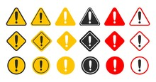 Caution Alarm Set. Danger Sign Collection. Attention Vector Icon. Yellow And Red Fatal Error Message Element.