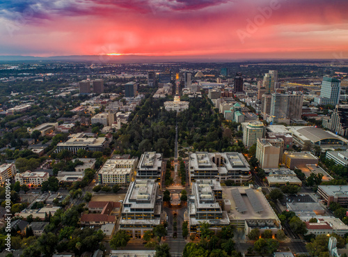 Canvas-taulu Aerial images of downtown Sacramento