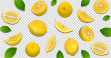 Minimal Pastel Style Creative Layout Made Of Lemon And Leaves , Half Of Lemon , Slide, Piece. Flat Lay. Fruit Concept.isolated On Transparent Background