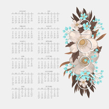 Calendar 2020. Floral Calendar With White And Light Blue Flowers