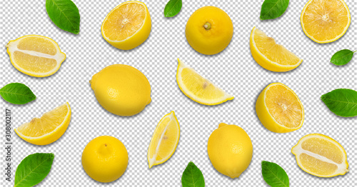 Fototapeta Minimal pastel style creative layout made of lemon and leaves , half of lemon , slide, piece. flat lay. Fruit concept.isolated on transparent background obraz