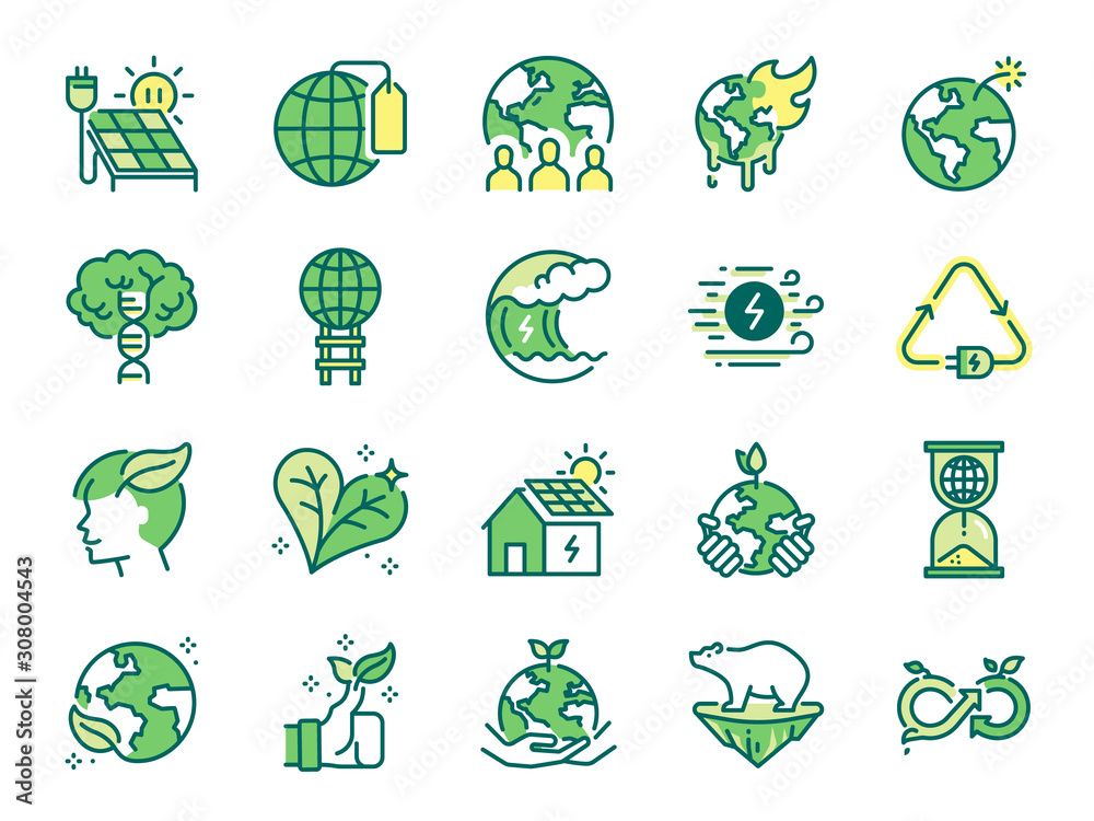 Fototapeta Ecology icon set. Included icons as eco product, clean energy, renewable power, recycle, reusable, go green and more.