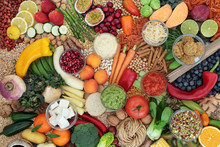 Vegan Health Food Collection With Foods High In Protein, Vitamins, Minerals, Antioxidants, Anthocyanins,  Fibre, Omega 3 And Smart Carbs. Ethical Food Eating Concept. Flat Lay, Top View.