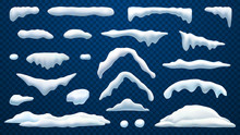 Snow Caps, Snowballs And Frozen Icicles Of House Roof, Vector Realistic Icons Isolated On Transparent Background. Abstract Winter Snow Caps And Frost Icicles For Christmas And New Year Design