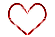 Red Fishing Hook Love Heart Si...