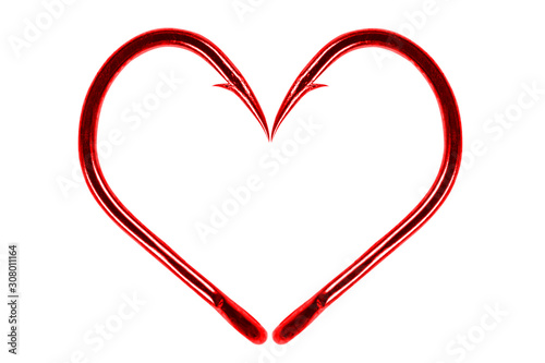 Photo Red fishing hook love heart sign isolated on a white background
