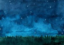 Grass Meadow With Night Sky Wa...