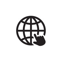 World Website Hand Cursor Icon Symbol Vector Illustration