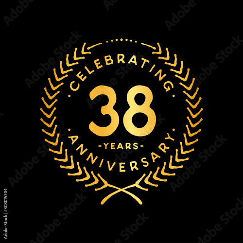 Tela 38 years design template. 38th vector and illustration.