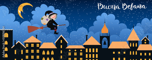 Foto Hand drawn vector illustration with witch Befana with sack flying on broomstick over city, Italian text Buona Befana, Happy Epiphany