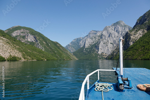 Beautiful landscape with mountains and green forests on a boat trip on the Koman Canvas Print