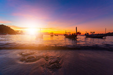 Silhouette Of  Fishing Boat An...