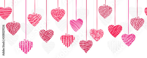 Canvastavla Cute hand drawn doodle hearts horizontal seamless pattern, romantic background,