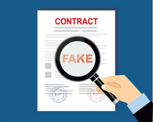 Fake Contract With Magnifying Glass Vector Illustration