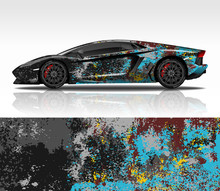 Car Wrap Decal Design Vector, For Lamborghini Aventador, Advertising Or Custom Livery WRC Style, Race Rally Car Vehicle Sticker And Tinting Custom.
