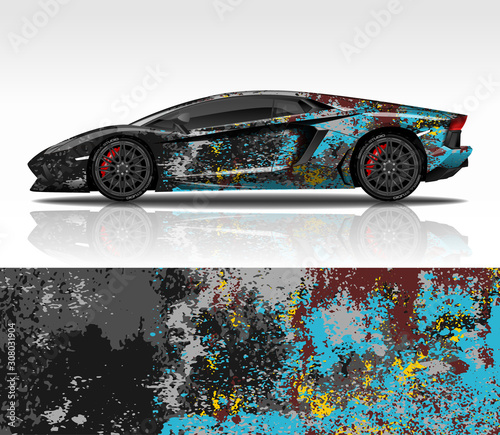 Car wrap decal design vector, for Lamborghini Aventador, advertising or custom livery WRC style, race rally car vehicle sticker and tinting custom фототапет