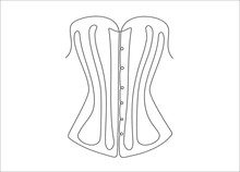 Vintage Corset Continuous One Line Drawing Minimalism Design Isolated On White Background