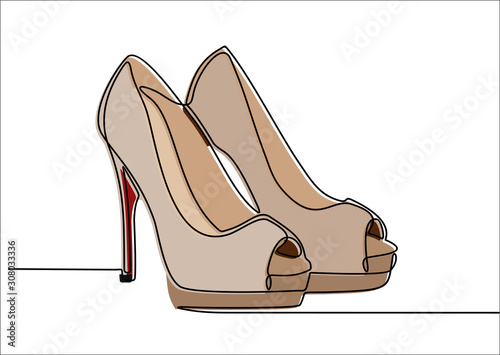 Obraz na plátne Continuous line drawing of women's high heel shoes.
