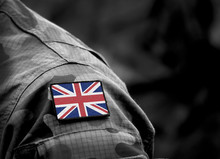 Flag Of United Kingdom On Military Uniform. UK Army. British Armed Forces, Soldiers. Collage.