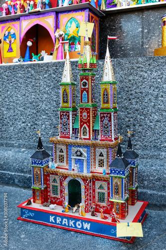 Fototapeta KRAKOW, POLAND - DECEMBER 05, 2019: Annual Nativity Scenes Contest obraz