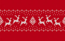 Knitted Christmas Pattern. Red Seamless Print. Vector Illustration.