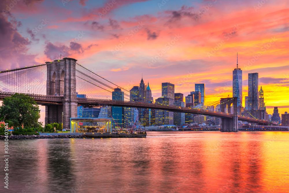 Fototapeta Lower Manhattan Skyline and Brooklyn Bridge