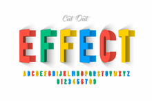 Paper Cut Out Effect Font Design, Alphabet Letters And Numbers