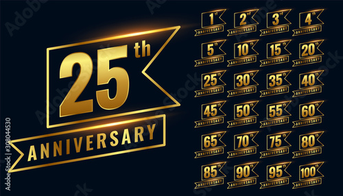 Canvastavla golden happy anniversary premium labels logotype set