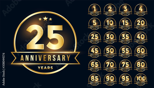 premium golden anniversary emblem set in line style Canvas Print