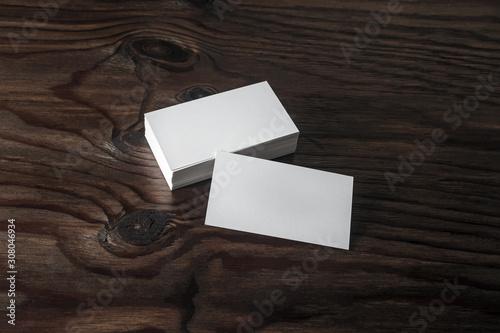 Cuadros en Lienzo  Blank business cards on wooden background
