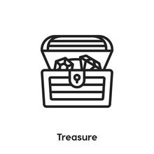 Treasure Icon Vector. Chest Icon Vector Symbol Illustration. Modern Simple Vector Icon For Your Design. Treasure Icon Vector