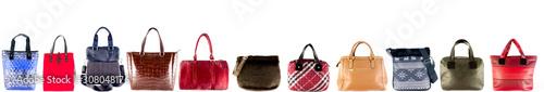 Fototapeta Women's handbags different on a white background. Header. obraz