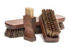 Shoe Brushes And Horsehair Polishing Brush Isolated On White Background