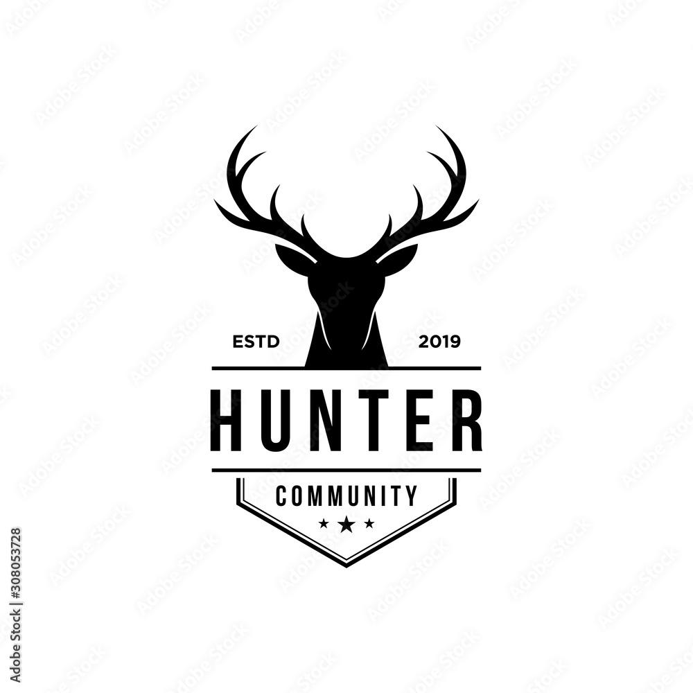 Fototapeta deer hunter logo, badge, emblem, label design template. vector illustration of deer head silhouette and arrow. hunter club, deer hunting symbol icon
