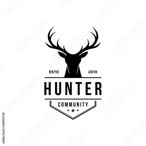 Fotomural deer hunter logo, badge, emblem, label design template