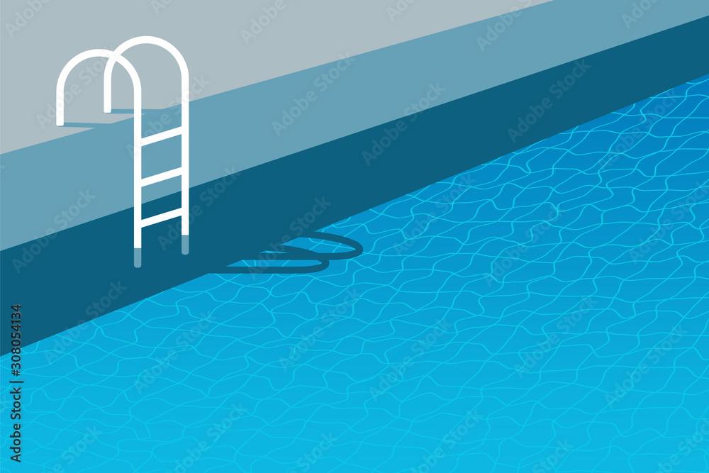 Fototapeta Swimming pool ladder background. Water reflection illustration. Recreation resort banner template. SPA party invitation.