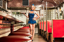 Woman Serve In A American Diner