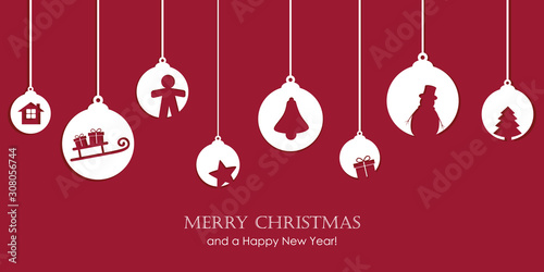 christmas card with tree balls decoration vector illustration EPS10 Wallpaper Mural